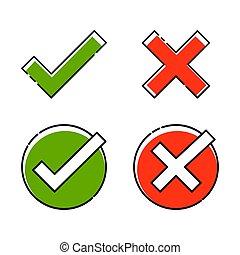 direita, falso, set., crucifixos, wrong., vetorial, verde, carrapato, verdadeiro, ou, vermelho