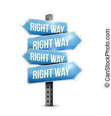 direita, ilustração, sinal, desenho, maneira, estrada