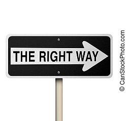 direita, -, isolado, sinal, maneira, estrada