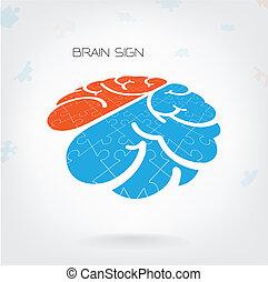 direita, jigsaw, sinal, cérebro, criativo, esquerda