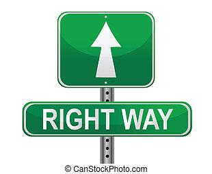 direita, rua, maneira, sinal