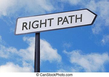 direita, sinal, caminho