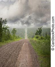 direito, estrada estreita, sujeira