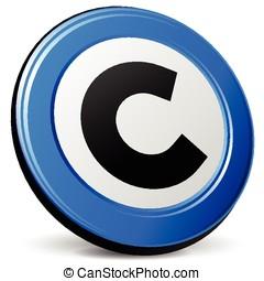 direitos autorais, azul, ícone