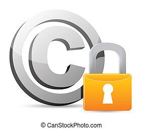 direitos autorais, com, padlock, proteção