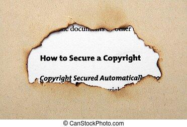 direitos autorais, ligado, papel, buraco