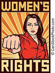 direitos, womens, cartaz