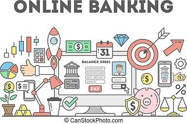direkt bankrörelse, illustration.