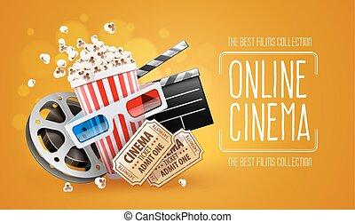 direkt, bio, konst, film, hålla ögonen på, med, popcorn