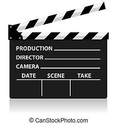 direktor, film, schiefer, vektor, tafel