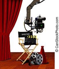 direktor, sitz, und, film machen ausrüstungen, bühne