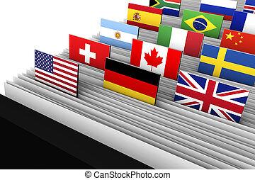 diretório, internacional, fregueses, dados, negócio