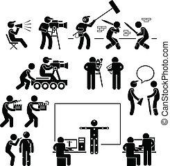 diretor, fazer, filmando, ator, filme