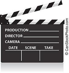 direttore, film, ardesia, vettore, lavagna