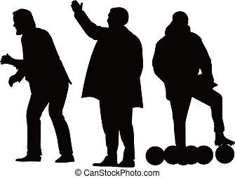 direttore, football, silhouette