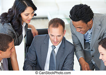 direttore, lavorando ufficio, businessteam