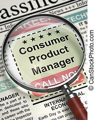 direttore, vacancy., consumatore, lavoro, prodotto, 3d.