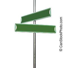 direzionale, segno metallo, verde, vuoto, palo