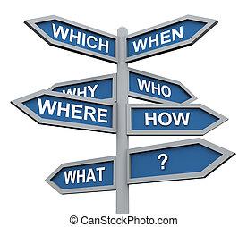 direzione, 3d, domande, segno