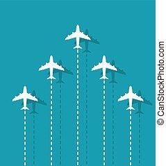 direzione, aeroplani, concetto, bianco, sky., affari