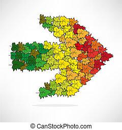 direzione, colorato, figura, foglie, forma, freccia