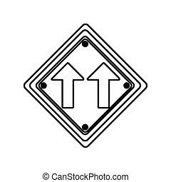 direzione, diamante, silhouette, cornice, stesso, segno, forma, traffico, freccia, strada