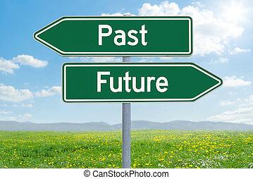 direzione, -, due, passato, futuro, verde, segni, o