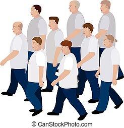 direzione, folla, uomini, jeans, t-shirt, spostamento, comune