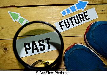 direzione, opposto, passato, futuro, segni, o