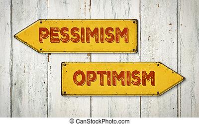 direzione, parete, pessimismo, -, ottimismo, legno, segni, o
