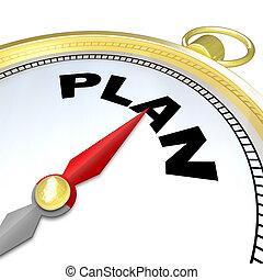 direzione, parola, scopo, strategia, piano, bussola