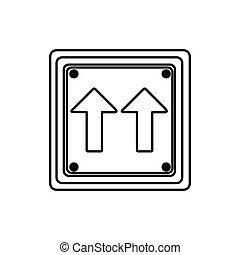 direzione, quadrato, silhouette, cornice, stesso, segno, forma, traffico, freccia, strada