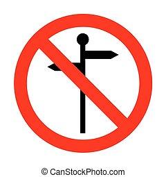 direzione, segno., strada, no