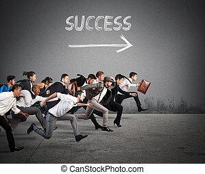 direzione, successo, in, affari