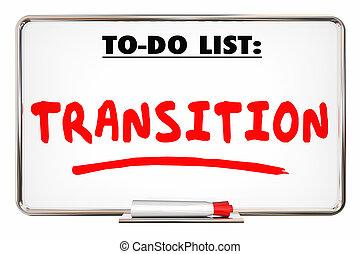 direzione, transizione, elenco, illustrazione, nuovo, cambiamento, 3d