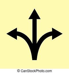 direzione, trilaterale, segno freccia