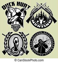 diriger ensemble, chasse, cerf, étiquette, vecteur, sauvage, canards
