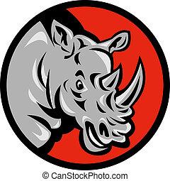 diriger ensemble, fâché, rhinocéros, attaque, prêt, cercle, intérieur
