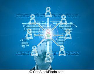 diriger, organisation, ou, social, réseau, dans, numérique,...