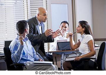 dirigere, direttore, lavorante, riunione, ufficio