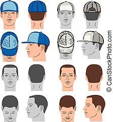 dirigere insieme, berretto, tennis, baseball, rap, uomo