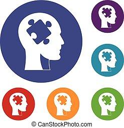 dirigere insieme, puzzle, icone