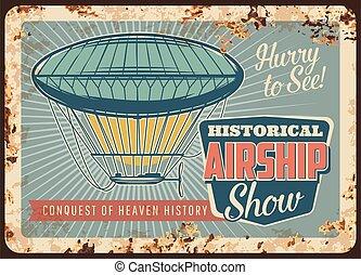 Dirigible airship rusty metal plate, zeppelin - Dirigible ...