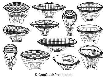 Dirigible airships and air balloons, aeronautics - Dirigible...