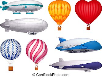 Dirigible And Balloons Realistic Set - Dirigible and ...