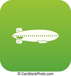 Dirigible balloon icon digital green