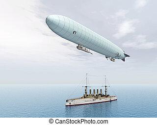 dirigible, buque de guerra