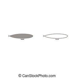 Dirigible grey set icon .