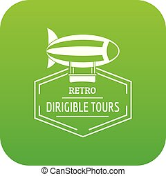 Dirigible icon green vector isolated on white background