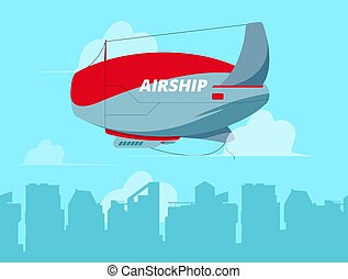 Dirigible in sky. Flying airship in clouds concept travel ...